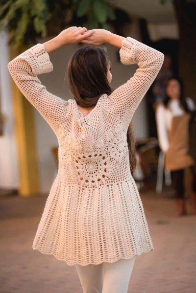 cream coloured crochet tunic winter in ibiza