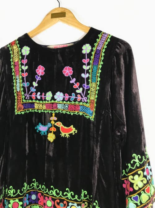 brown velvet embroidered top