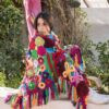 multicoloured crocheted shawl