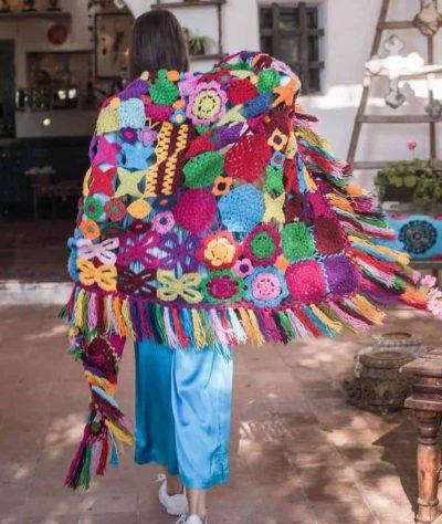 multicoloured crochet shawl