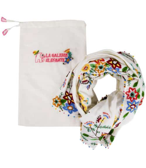 embroidered shawl with bag