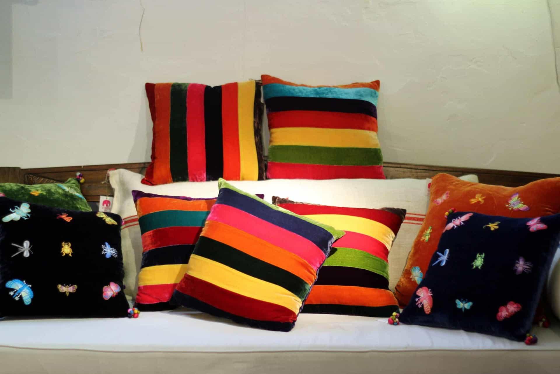 silk velvet cushions with silk lining