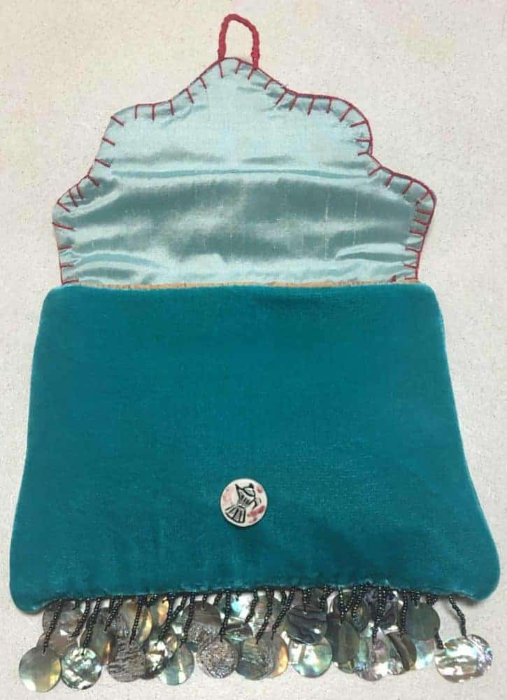 velvet bag with mother of pearl