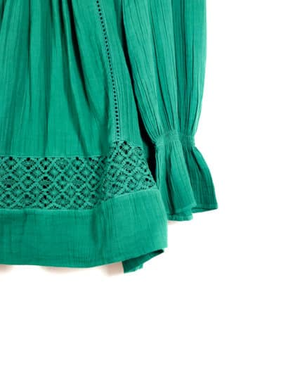 green tunic with lace detail