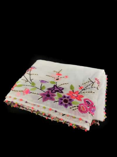cotton scarf with floral embroidery