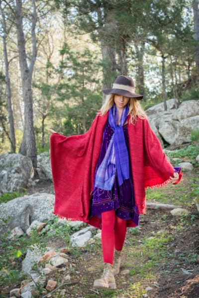 red scarf dyed with vegetable dyes