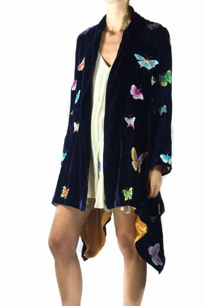 silk velvet butterfly jacket