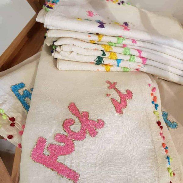fuck-it embroidered tea towel