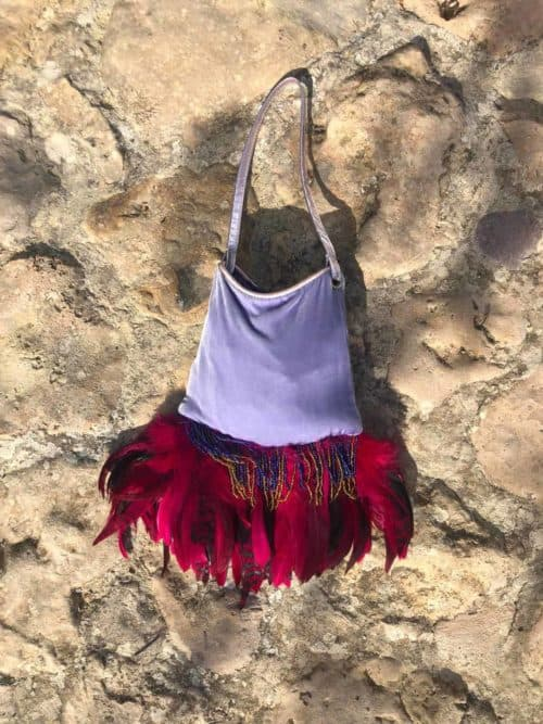 lilac velvet feather bag