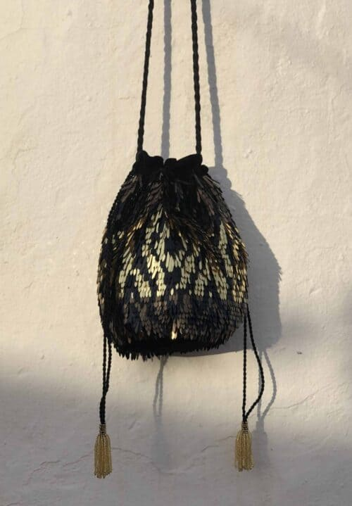 black, gold and bronze sequin bag