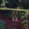 Ruby zircon earrings