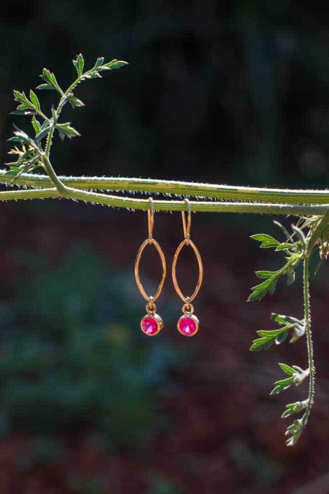 silver gols plated ruby zircon earrings