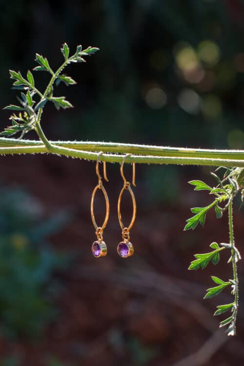 earrings with amethysts