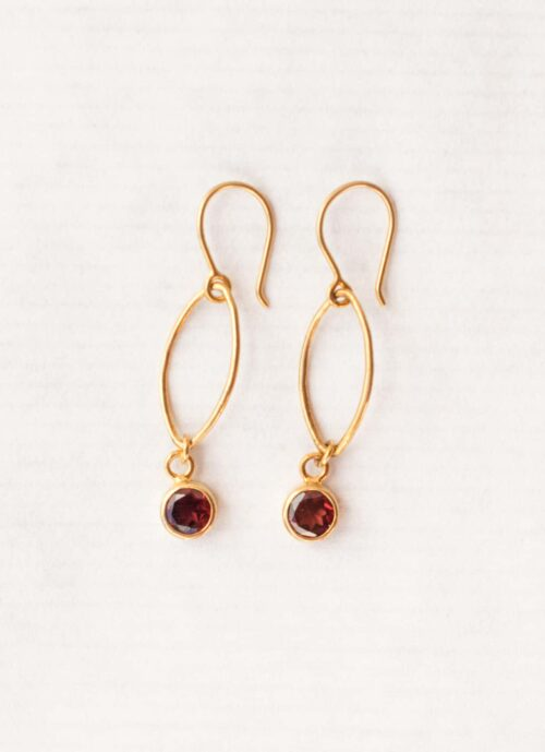 Garnet oval dot earrings