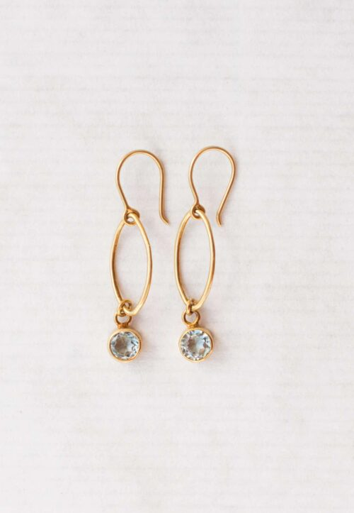 Blue topaz oval dot earrings