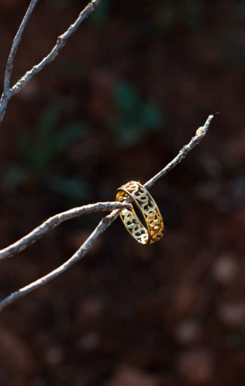 silver gold plated om band ring