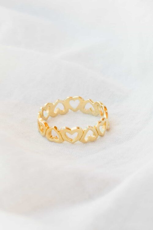 silver gold plated heart band ring