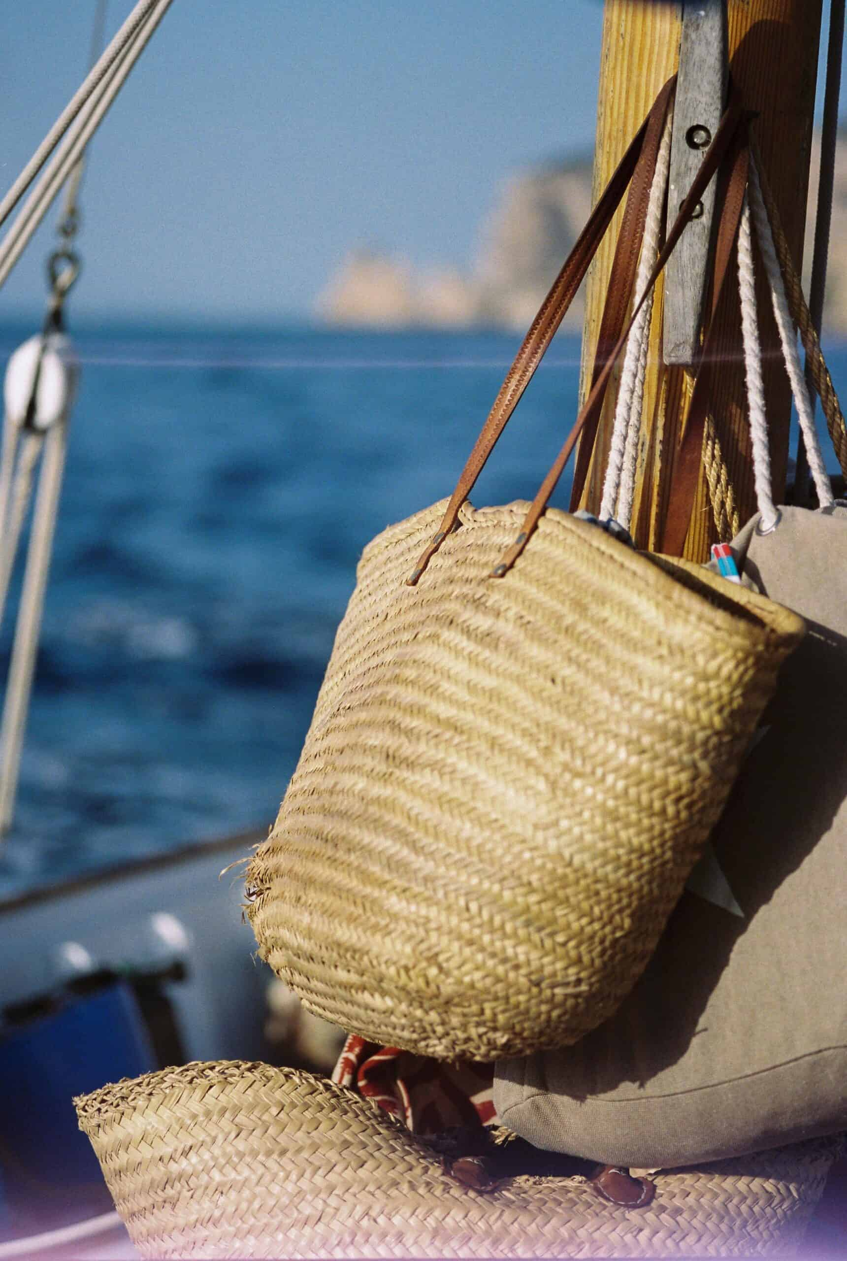 Ibiza baskets on a boat