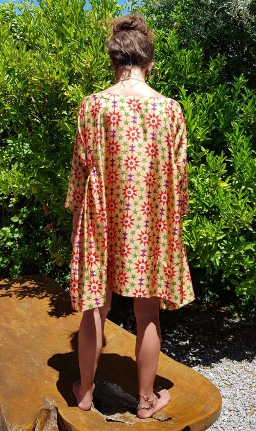 short silk tunic in a brown star tile print