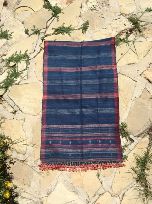hand woven wild silk scarf with orange tassels