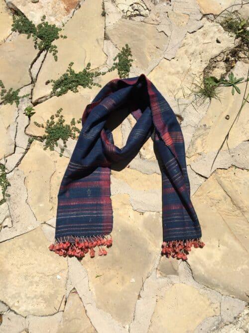 orange tassels on a wild silk hand woven scarf