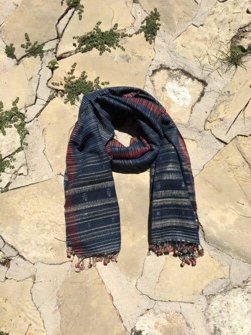 hand woven wild silk scarf with pink tassels