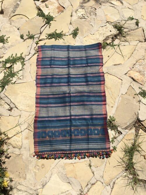 hand woven wild silk scarf in multicoloured orange tassels