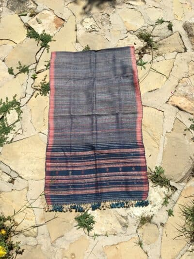 hand woven wild silk scarf with pink stripes