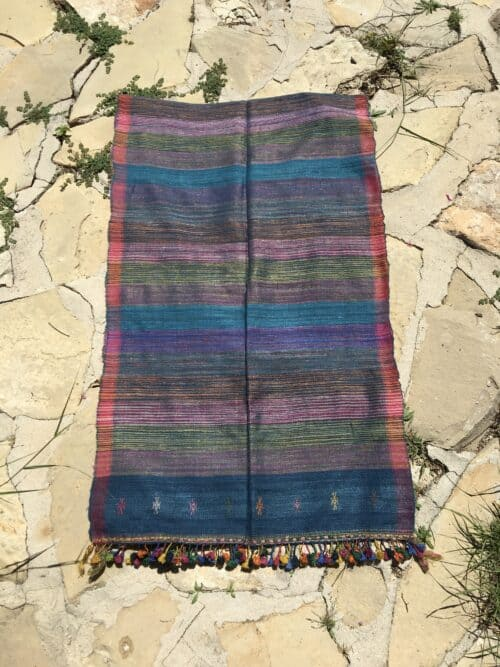 hand woven wild silk scarf with multicoloured yellow tassels