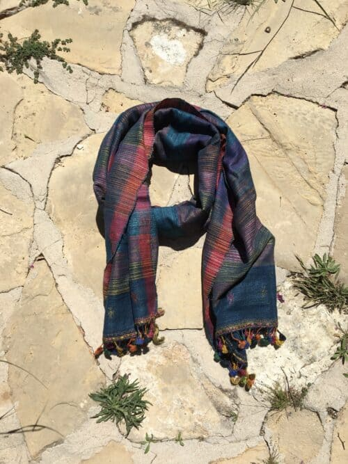 hand woven scarf in wild silk