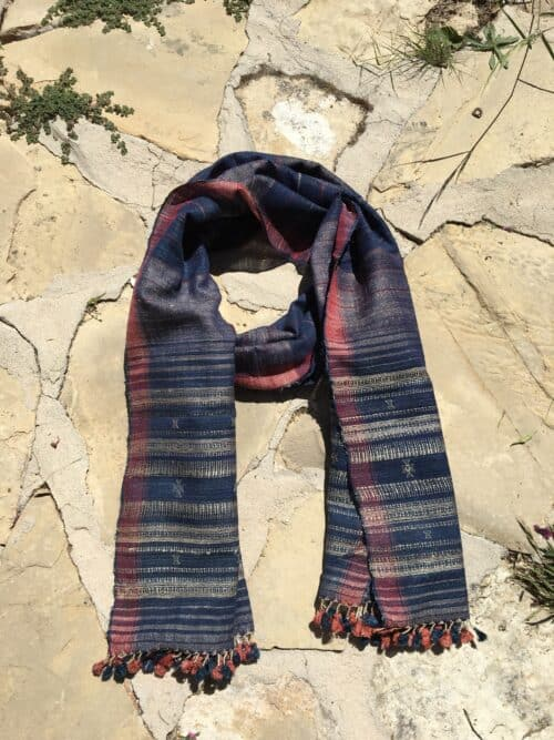 hand woven wild silk scarf in coral and blue