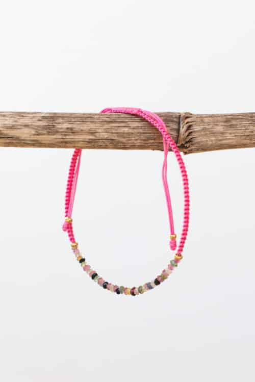 pale pink tourmaline string bracelet