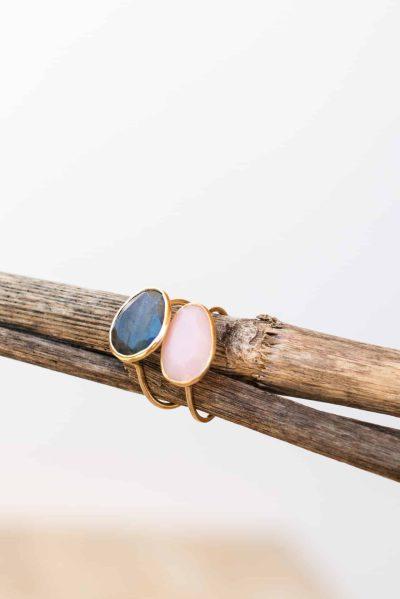 labradorite and rose quartz rings