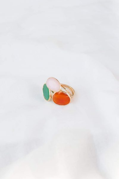 carnelian, rose quartz and green onyx gemstones