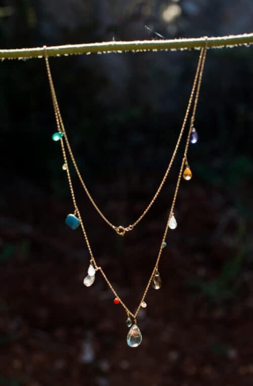 aquamarine drop dainty necklace