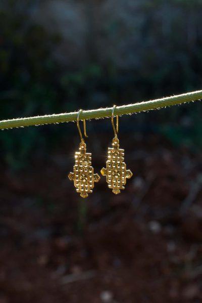 latticework Ethiopian Cross earrings