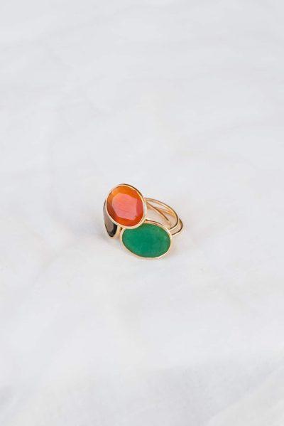 carnelian, green onyx and smoky quartz rings