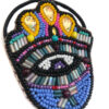 side view of a hamsa hand hair bobble with lilac iris