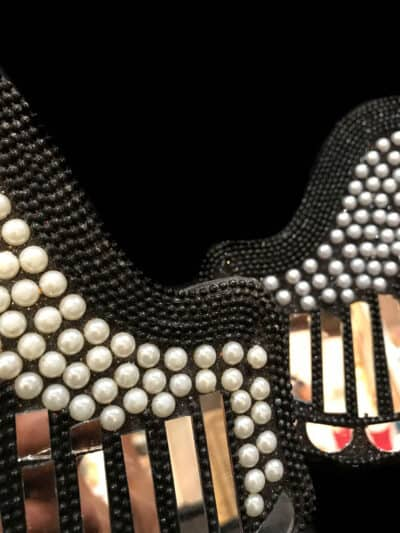 black angel wings with mirrors and pearl balls