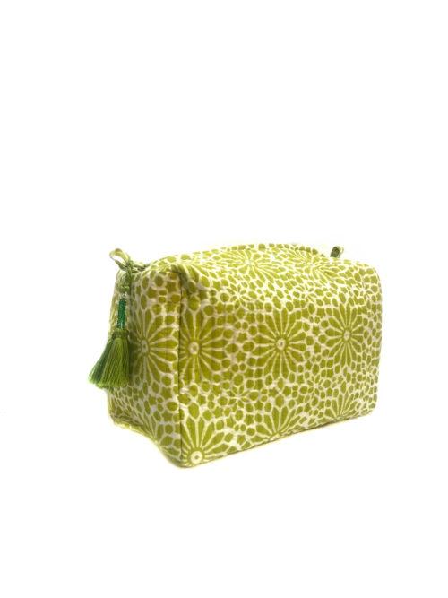 green hand printed wash bag