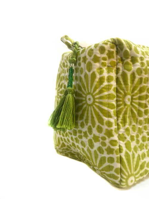 green hand printed wash bag with tassel