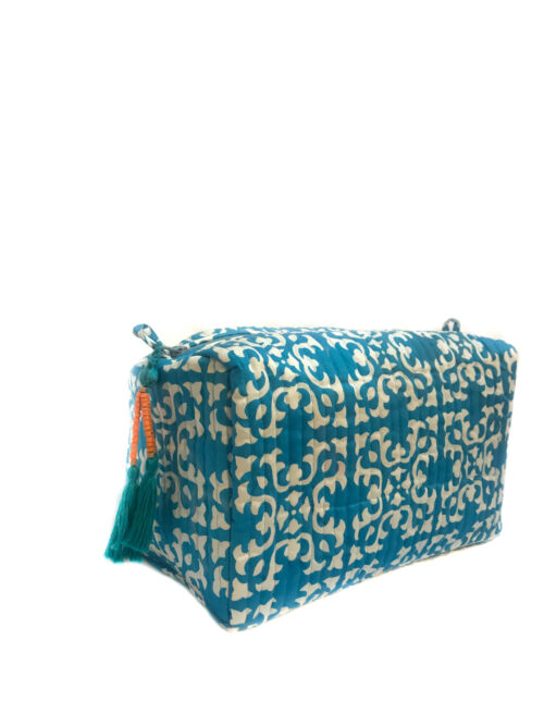 blue and white hand printed wash bag