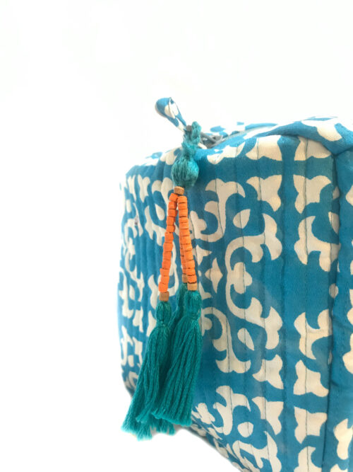 blue hand printed wash bag with tassel