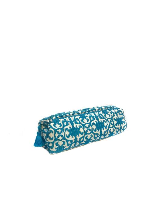 blue and white block printed make-up bag