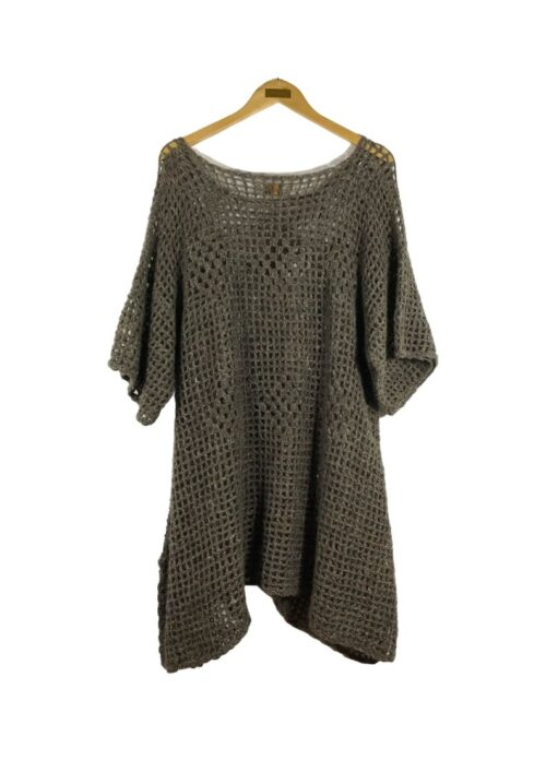 grey wool crochet tunic