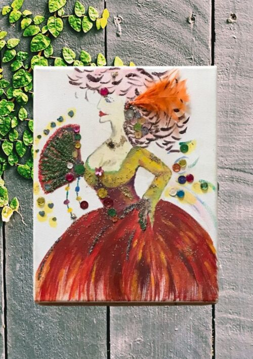 small oil painting of a flamenco dancer