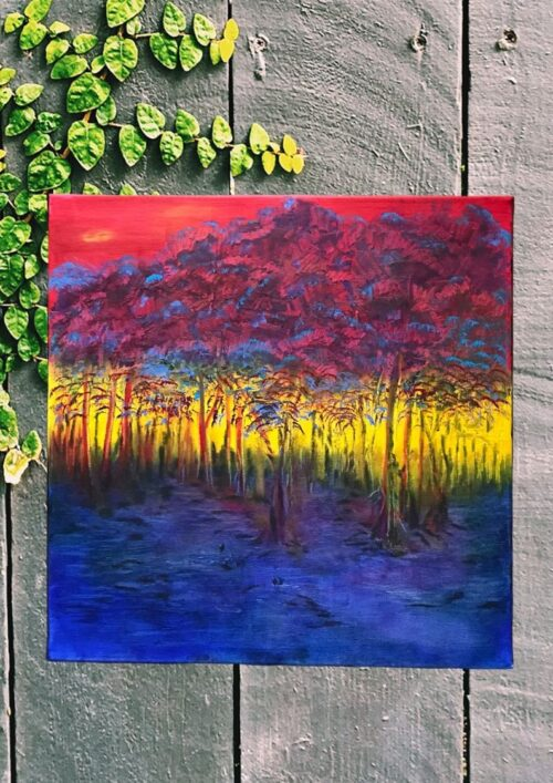 square oil painting of a sunset seen through the trees