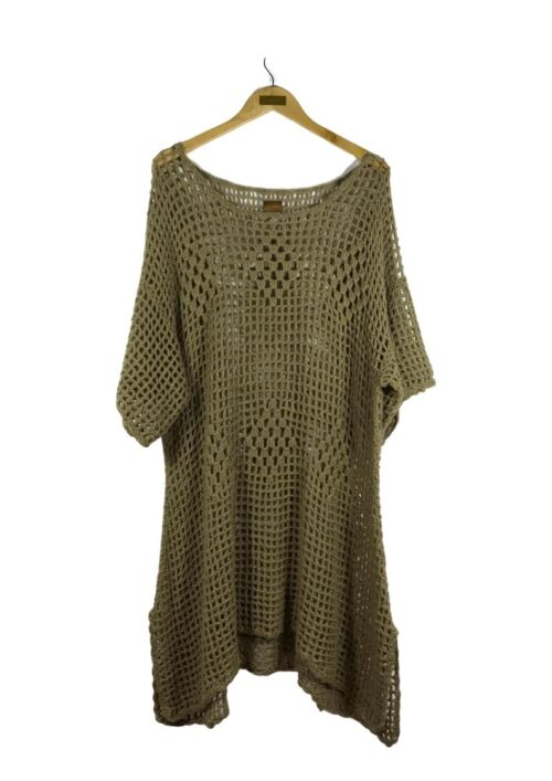 wool tunic in a brown crochet