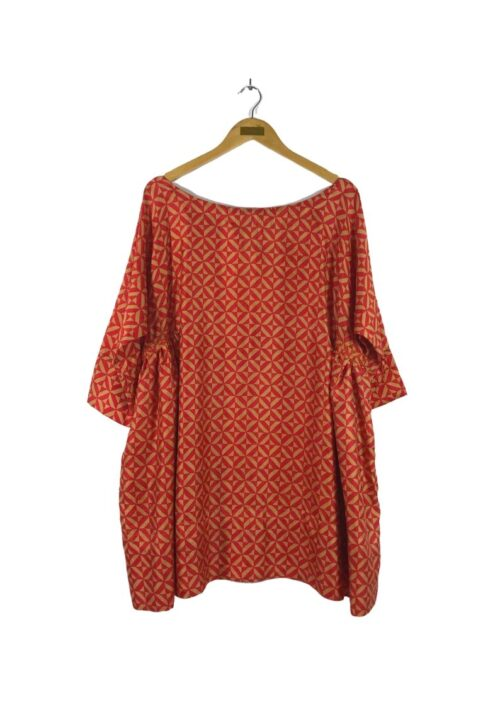 silk tunic in a red geo print
