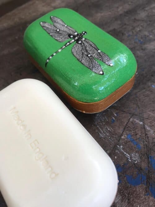 decoupage dragonfly on a soap